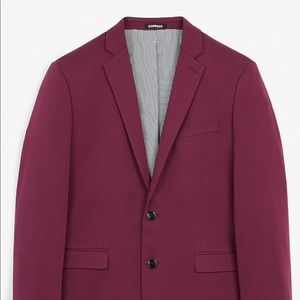 Express Extra Slim Magenta Solid Suit Jacket